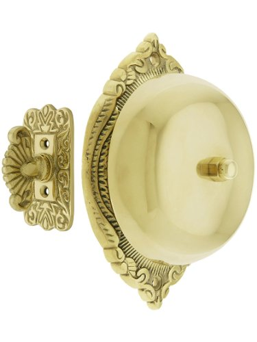 House of Antique Hardware R-06SE-0900019 Transitional Victorian Mechanical Door Bell in Polished Brass