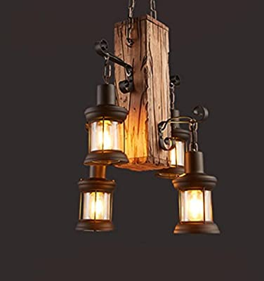 DMMSS Iron Wooden Chandeliers American Retro Coffee Restaurant Net Bar Nostalgia Creative Lighting Personality Clothing Store Solid Wood Decorative Lighting