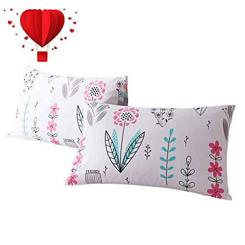 BuLuTu Bird Floral Print Cotton Bed Pillowcases Set of 2 Queen White,Pink Flower Reversible Striped Kids Pillow Covers Decorative Standard for Girls Envelope Closure End (2 Pieces,20