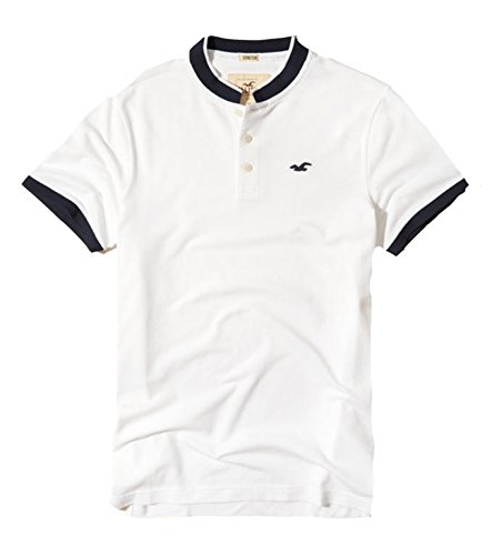 Hollister Mens Polo Shirt T Shirt  L  Stretch White Banded 909
