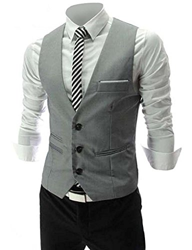Vest Jacket Suit (PXS Vest V-Neck Sleeveless Slim Fit Jacket Men Business Waistcoat (Grey, M))