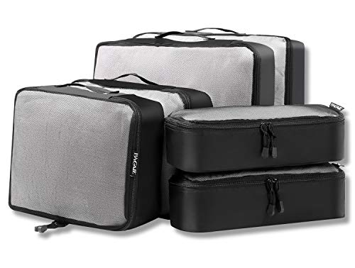 6 Set Packing Cubes,3 Various Sizes Travel Luggage Packing Organizers (Black net)
