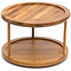 "Lipper International 8302 Bamboo Wood 2-Tier 10"" Kitchen Turntable"