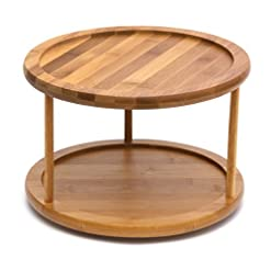 Kitchen Lipper International 8302 Bamboo Wood 2-Tier 10″ Kitchen Turntable lazy susans