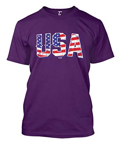 USA - Retro American Flag Stars & Stripes Men's T-Shirt (Purple, X-Large)