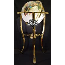 Unique Art 330-GTH-PEARL-GOLD 36-Inch by 13-Inch Floor Standing Pearl Ocean Gemstone World Globe with Gold Tripod