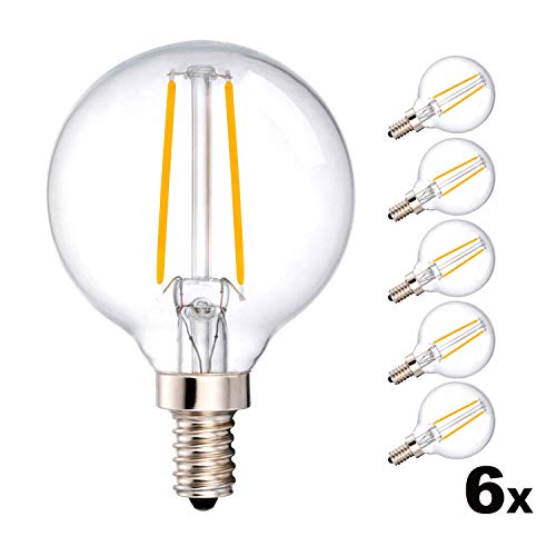 1/2 Candelabra G16 - MRDENG Dimmable Small Light Bulbs 40 Watt Replacement Candelabra LED Bulbs,E12 G16.5 LED 3.5W(40-Watt Equivalent) Energy Saving LED Bulb,Warm White Globe (2700K) Pack of 6