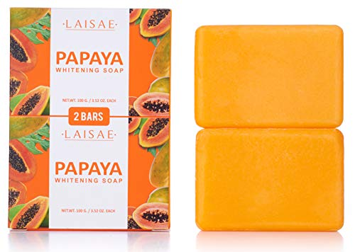 - Papaya Whitening Soap - For Natural Skin Lightener - Help Exfoliates & Cleanses Body-Facial - Eliminates Acne Scars, Age Spots, Discoloration & Fine Lines -Suitable For All Skin Types (2 Bars/3.52 Oz)