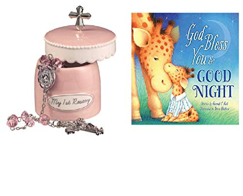 Baptism Gifts for Girls- My First Christian Rosary Ceramic Keepsake Box with Popular Christening Book Board God Bless You and Good Night (A God Bless Book from Hannah Hall)
