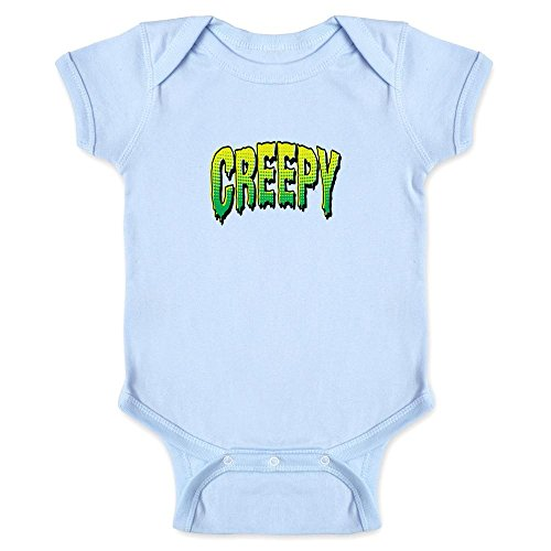 Pop Threads Creepy Retro Comic Text Halloween Costume Horror Light Blue 24M Infant Bodysuit