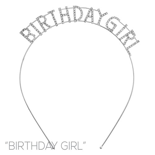 Arsimus Sparkly Silver Rhinestone Birthday Girl Party Headband -