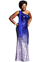 Silver & Royal Blue One Shoulder Ombre Sequins Mermaid Dress