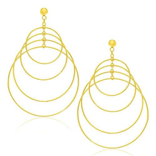 14K Yellow Gold Graduated Textured Circle Earrings Graduated Circle Earrings