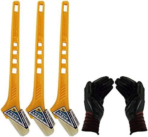 黄柄ニス用ハケ30mm巾 3本セット(作業手袋付き)通常便