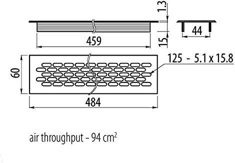 L/üftungsgitter aus Aluminium f/ür Sockelleisten und Arbeitsplatten in K/üchen geeignet 480/x 60/mm hitzebest/ändig wei/ß.