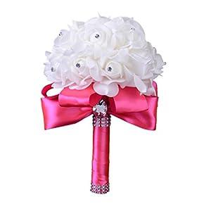 Iuhan Crystal Roses Pearl Bridesmaid Wedding Bouquet Bridal Artificial Silk Flowers 108