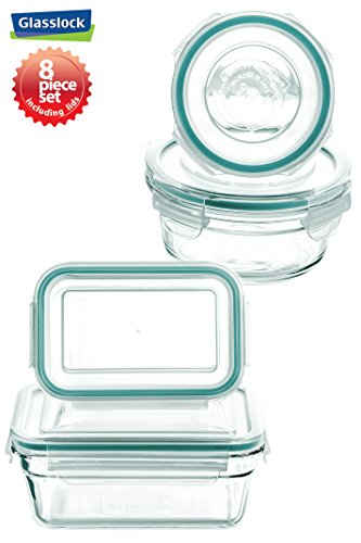 New Snaplock Lid: Tempered Glasslock Storage Containers 8pc (contains 4 container & 4 Lid) set~Microwave & Oven Safe