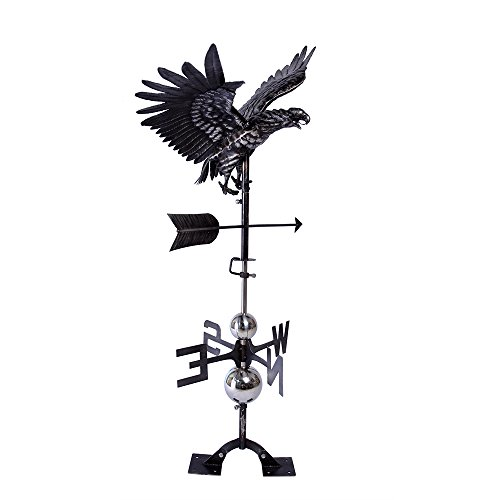 IORMAN Original Handcrafted 3D Flying Eagle Weathervane Directions Symbol for Farmhouse Barn Rustic Outdoor Garden