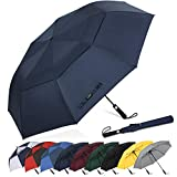 G4Free 62 Inch Portable Golf Umbrella Large Oversize Double Canopy Vented Windproof Waterproof Automatic Open Stick Umbrellas for Men and Women(Dark Blue)
