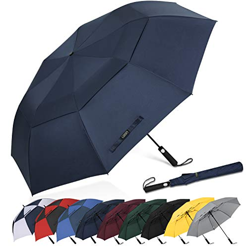 G4Free 62 Inch Portable Golf Umbrella Large Oversize Double Canopy Vented Windproof Waterproof Automatic Open Stick Umbrellas for Men and Women(Dark ()