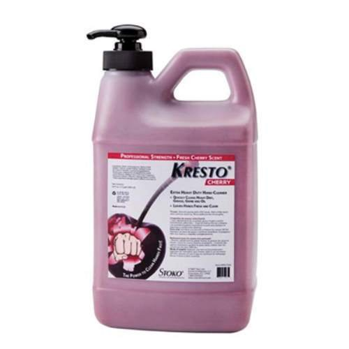 1/2 Gallon Pump Bottle Red KRESTO Cherry Scented Hand Cleaner. (2 Each)