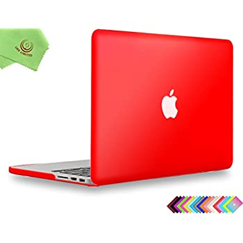 """UESWILL Smooth Soft-Touch Matte Frosted Hard Shell Case Cover for MacBook Pro 15"""" with Retina Display(NO Touch-Bar)(A1398) + Microfibre Cleaning Cloth, Red"""