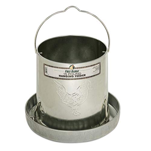 Harris Farms Galvanized Hanging Poultry Feeder, 15 lbs