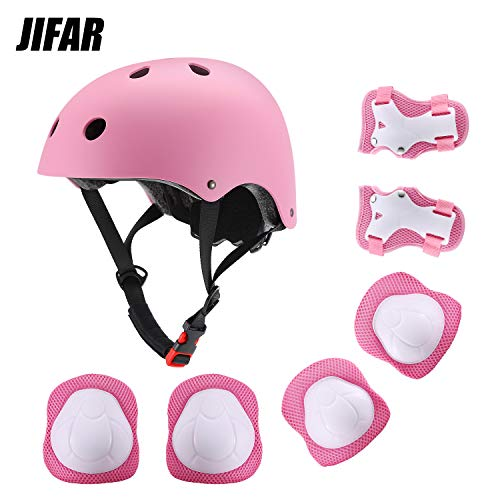 JIFAR Youth Kids Bike Helmet for Ages 3-14, Adjustable Toddler Protective Gear with Elbow Knee Wrist Pads for Skateboarding Bicycling Hiking, S Size for Girls Boys Helmet Pink