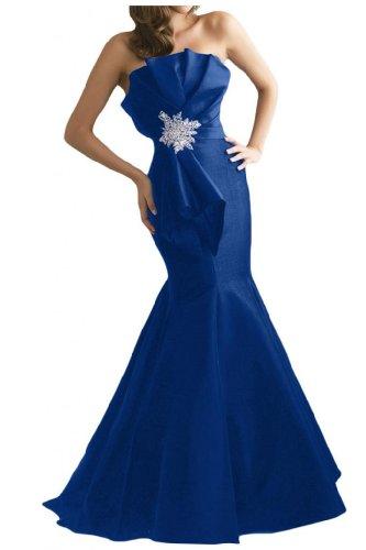 Gorgeous Novia Nuevo tafetán de sirena larga novia albornoz noche fiesta vestido sin tirantes Azul Real