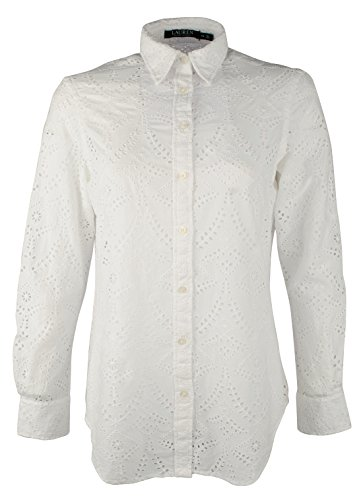 - Lauren Ralph Lauren Women's Petite Eyelet Button Down Crisp Cotton Shirt-W-PXS White