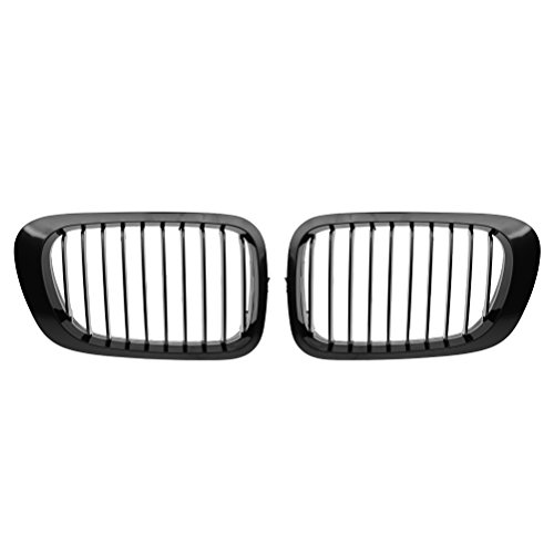 Left + Right Front Kidney Grille Grill For E46 2-Door 1999-2002 (Single line, Black)
