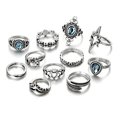 Gudukt 11Pcs Vintage Knuckle Ring Set Flower Star Rings Boho Crystal Joint Knuckle Nail Midi Ring Set