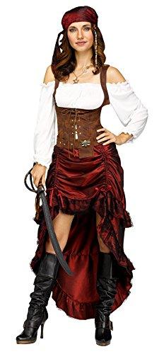 Gypsy Pirate Costume (Fun World Women's Pirate Queen Costume, Multi-Colored,)