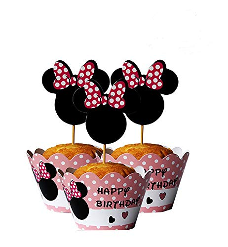 Mickey Mouse Minnie Cupcake Toppers+ Wrappers Party Pack for 12 Cupcakes ()