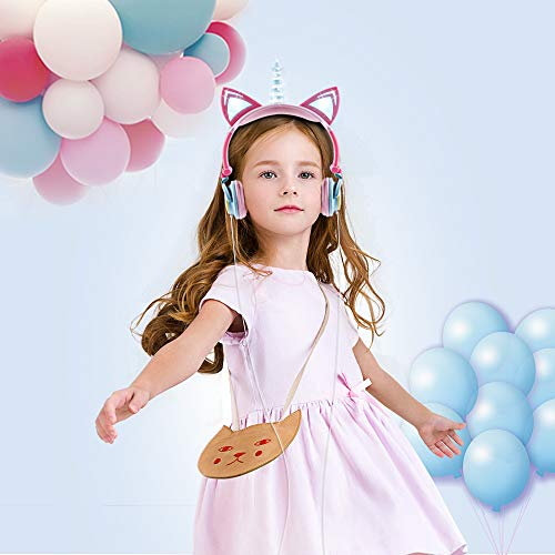 esonstyle Unicorn Kids Headphones, Over Ear with LED Glowing Cat Ears,Safe Wired Kids Headsets 85dB Volume Limited, Food Grade Silicone, 3.5mm Aux Jack.Cat-Inspired Headphones for Girls