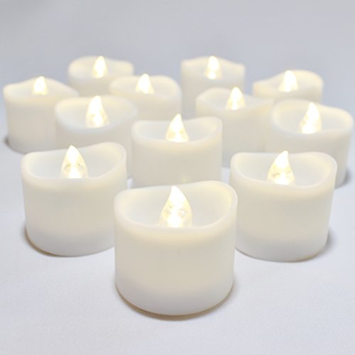 LED Lytes Flameless Candles, Set of 12 Battery Operated Tea Lights with 6 Hour Timer and Warm White Flame