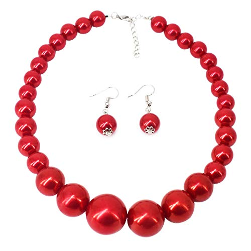 MeliMe Faux Big White Red Pearl Choker Necklaces Flapper Beads Wedding Jewelry for Women Mother (Red)