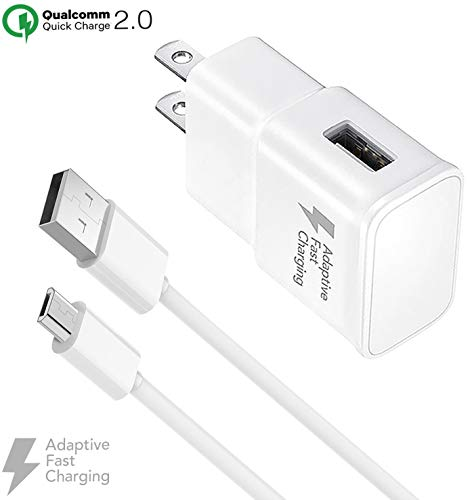 Boxgear Adaptive Fast Wall Charger and 4 Feet Micro-USB to USB-A 2.0 Charger Cable for Samsung Galaxy S7, S7 Edge, S6, S6 Edge, Note 5, Note 4, S3, Honor Lite 10, Moto G5, and More, White