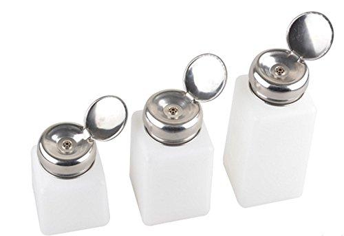 KOKEE Set of 6 Pieces ( 2pcs 4oz + 2 pcs 6 oz + 2 pcs 8 oz) White One Touch Stainless Steel Liquid Dispenser Pump ESD Safe Square Bottle Nail Polish Remover Alcohol Bottle