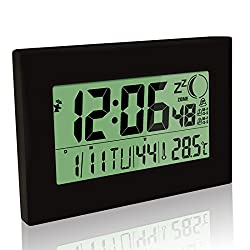 Silent Desk Clock, HeQiao Digital Wall Clock Slim Moon-Phase Clock Decorative Large LCD Battery Alarm Clock W/ Temperature Calendar Count Timer for Home Office (12 Inch, Elegant Black)