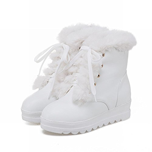 Carolbar Womens Cute Lace Up Sweet Faux Fur Warm Hidden Heel Snow Boots White LW4QWP