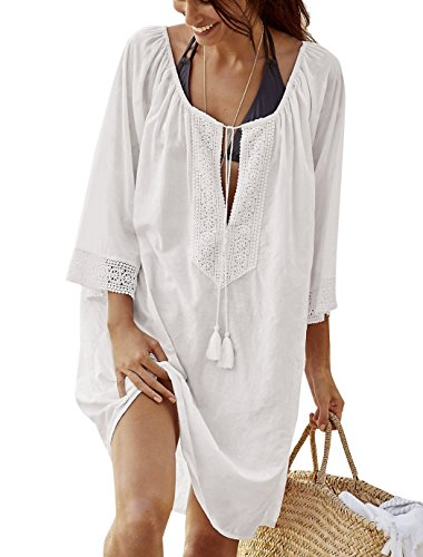 Jeasona Women's Bathing Suits Cover up for Swimwear Beach Lace Top (White, M)