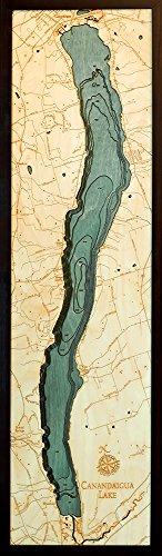 "Canandaigua Lake, New York 3-D Nautical Wood Chart, 13.5"" x 43"""