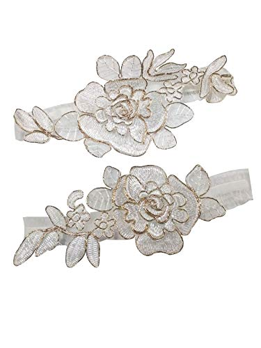 (YuRong Bridal Rose Style Garter Set Wedding Stretch Garter Set G44 (Gold))