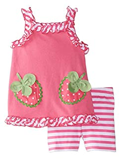 Nannette Infant Girls 2 Piece Strawberry Outfit with Pink Shirt & Striped Shorts