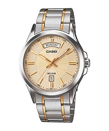 Casio MTP1381G-9AV Men s Classic Two Tone Stainless Steel 50M Day Date Gold Dial Watch