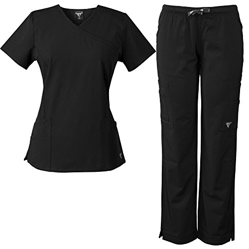 e447d1571a3 MaterialGirl Women's Stretch Rayon Scrub Set Eversoft Top & Elastic Pants