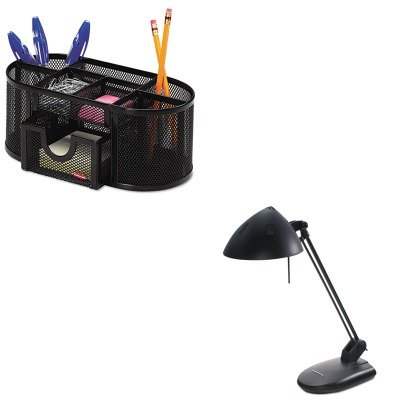 KITLEDL281MBROL1746466 - Value Kit - Ledu High-Output Three-Level Halogen Desk Lamp (LEDL281MB) and Rolodex Mesh Pencil Cup Organizer (ROL1746466) by Ledu (Image #1)