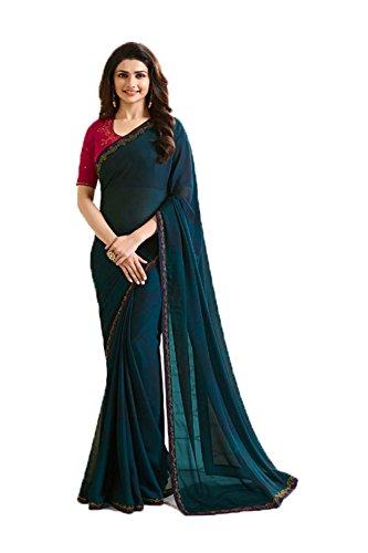 Da Facioun Indian Sarees For Women Wedding Designer Party Wear Traditional Sari. Da Facioun Saris Indiens Pour Les Femmes Portent Partie Concepteur De Mariage Sari Traditionnel. Green 3 Vert 3