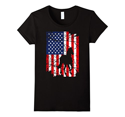 Womens Horse Lovers Great Gift T-Shirt Distressed American Flag Tee Medium Black
